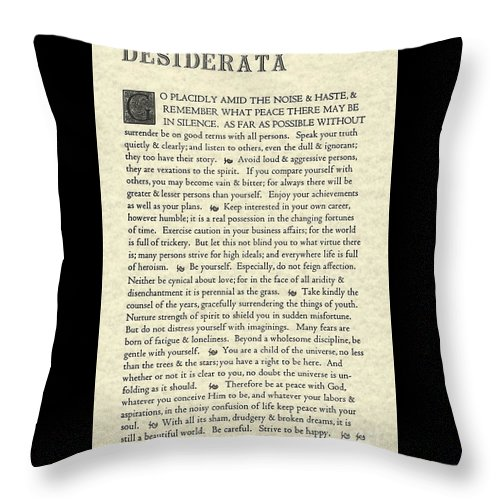 Desiderata Throw Pillow featuring the drawing Desiderata Poem On Parchment by Desiderata Gallery