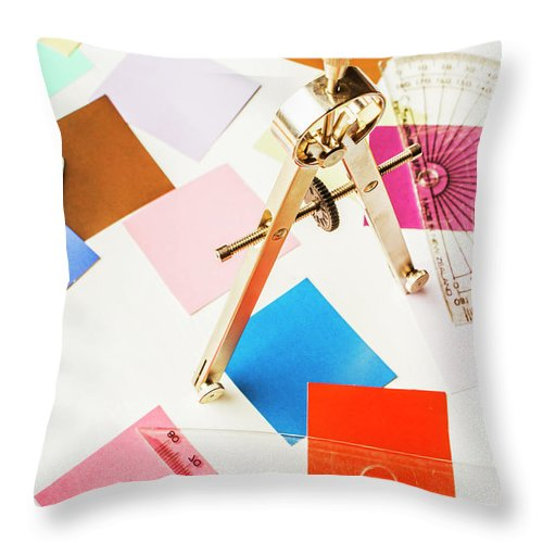Drafting Throw Pillow featuring the photograph Design In Abstract Geometry by Jorgo Photography - Wall Art Gallery