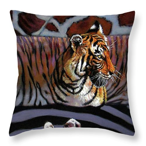 Animals Throw Pillow featuring the painting Designs For Defense And Offense by John Lautermilch