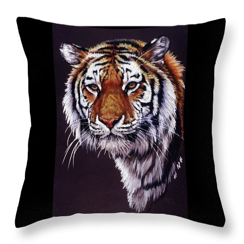 Tiger Throw Pillow featuring the drawing Desperado by Barbara Keith