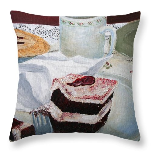 Coffee Throw Pillow featuring the relief Dessert by Melissa Wiater Chaney