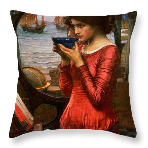 Boat; Globe; Poison; Blue Glass; Pre-raphaelite; Allegorical; Red Dress Throw Pillow featuring the painting Destiny by John William Waterhouse