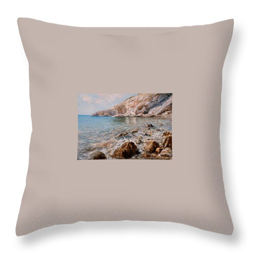 Seascape Throw Pillow featuring the painting Det by Sefedin Stafa