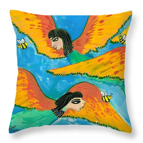 Sue Burgess Throw Pillow featuring the painting Detail Of Bird People Little Green Bee Eaters Of Upper Egypt 1 by Sushila Burgess