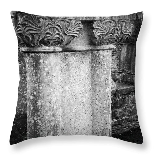 Irish Throw Pillow featuring the photograph Detail Of Capital Of Cloister At Cong Abbey Cong Ireland by Teresa Mucha