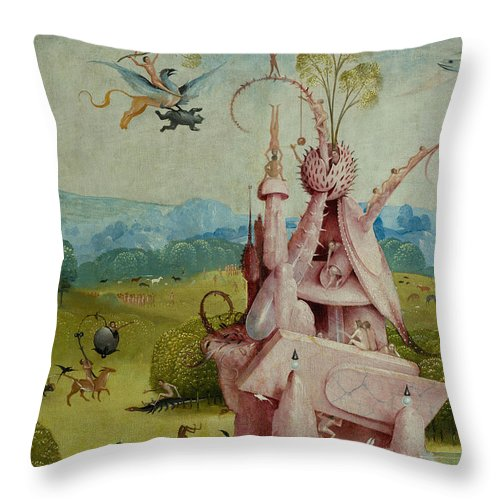 Central Panel Throw Pillow featuring the painting Detail Of Central Panel The Garden Of Earthly Delights by Hieronymus Bosch