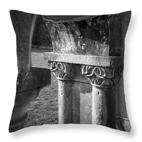 Irish Throw Pillow featuring the photograph Detail Of Cloister At Cong Abbey Cong Ireland by Teresa Mucha
