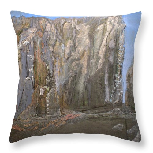 Abstract Throw Pillow featuring the painting Detail Of Landscape 1/3 by MountainSky S