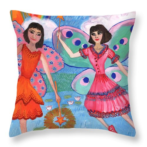 Sue Burgess Throw Pillow featuring the painting Detail Of Lily Pond Fairies by Sushila Burgess