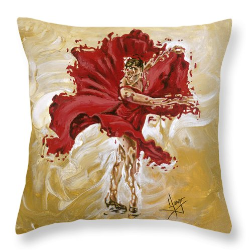 Girl Throw Pillow featuring the painting Determination by Karina Llergo