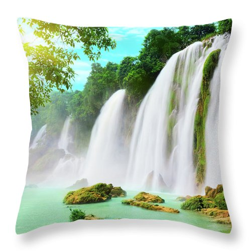 Waterfall Throw Pillow featuring the photograph Detian Waterfall by MotHaiBaPhoto Prints