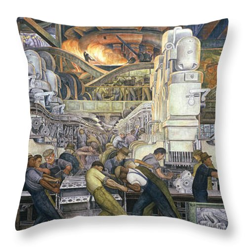 Machinery; Factory; Production Line; Labour; Worker; Male; Industrial Age; Technology; Automobile; Interior; Manufacturing; Work; Detroit Industry Throw Pillow featuring the painting Detroit Industry  North Wall by Diego Rivera