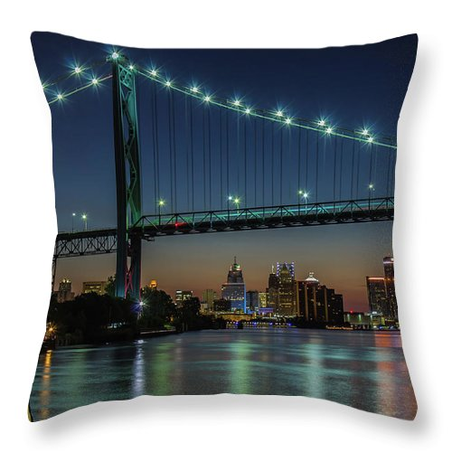 Detroit Throw Pillow featuring the photograph Detroit Riverside Sparkle by Jay Smith