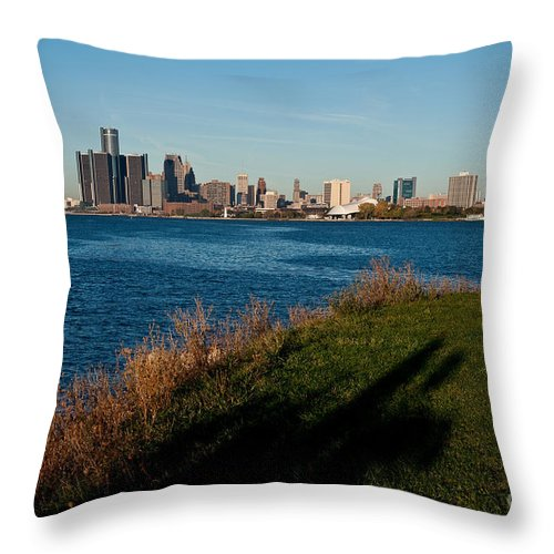 Detroit Throw Pillow featuring the photograph Detroit Skyline And Shadow by Steven Dunn