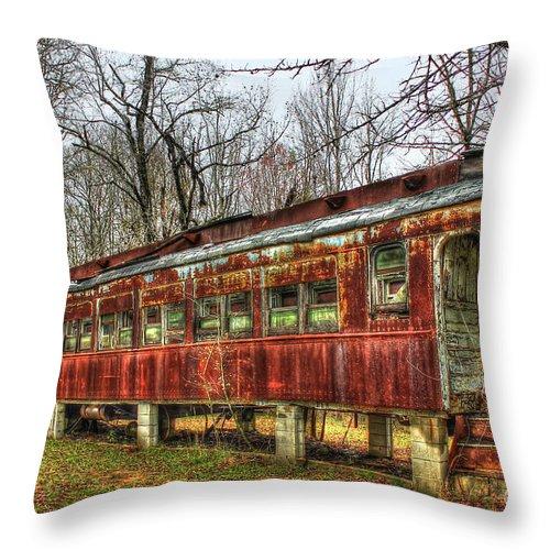 Train Car Fire Throw Pillow featuring the photograph Devastation Railroad Passenger Train Car Fire Art by Reid Callaway