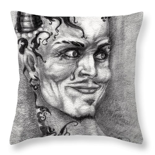 Satan Throw Pillow featuring the drawing Devil May Cry by Alban Dizdari