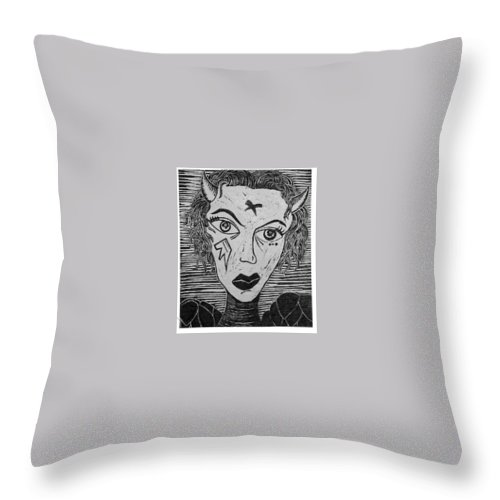 Prints Throw Pillow featuring the print Devil Print Two Out Of Five by Thomas Valentine