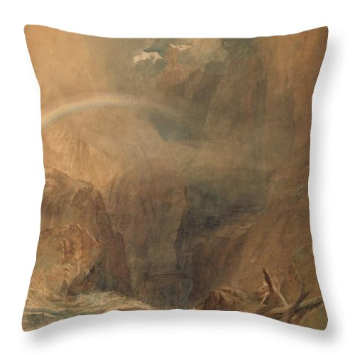Devil's Bridge Throw Pillow featuring the painting Devil's Bridge, Saint Gotthard's Pass by Grypons Art