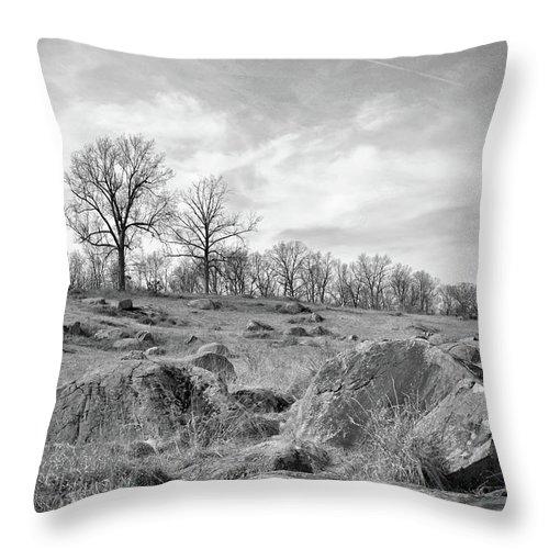 Civil War Throw Pillow featuring the photograph Devil's Den by Jen Goellnitz