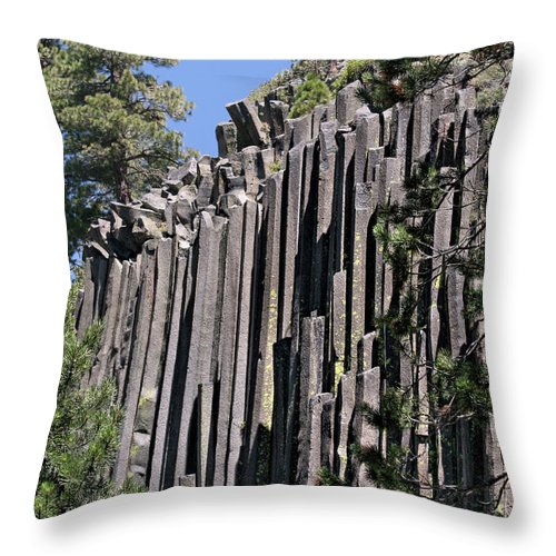 Devils Postpile Throw Pillow featuring the photograph Devils Postpile National Monument - Mammoth Lakes - East California by Christine Till