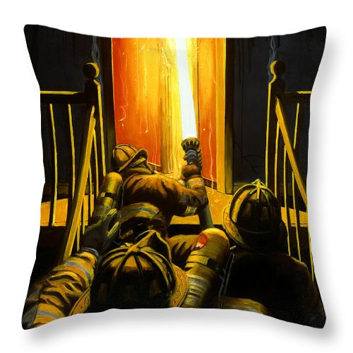 Firefighting Throw Pillow featuring the painting Devil's Stairway by Paul Walsh