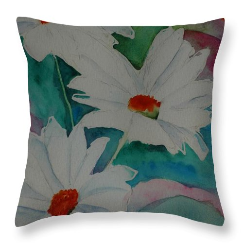 Daisies Throw Pillow featuring the painting Devin's Dasies by Melinda Etzold
