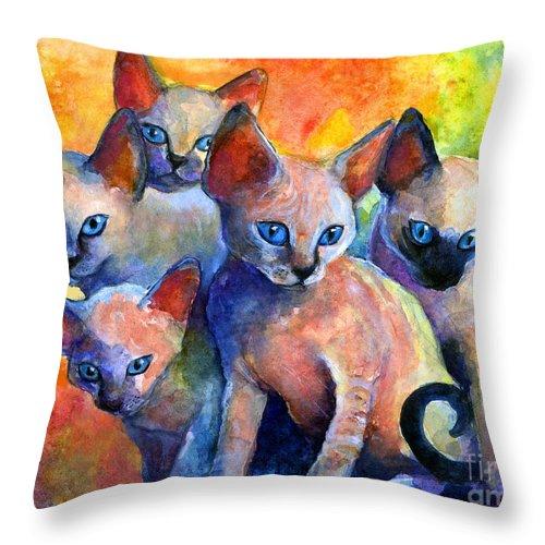 Kittens Throw Pillow featuring the painting Devon Rex kitten cats by Svetlana Novikova