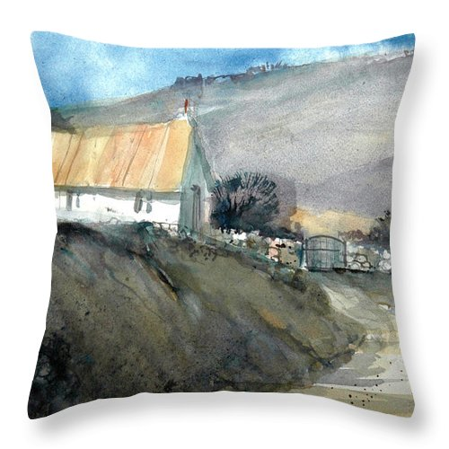 Devon Throw Pillow featuring the painting Devonshire Farm by Charles Rowland