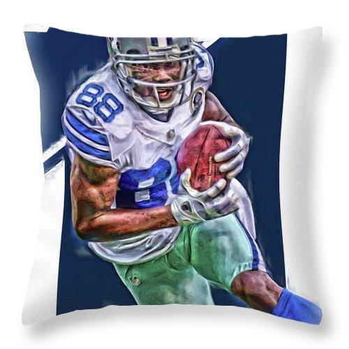 Dez Bryant Throw Pillow featuring the mixed media Dez Bryant Dallas Cowboys Oil Art by Joe Hamilton