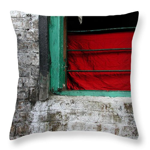 Red Throw Pillow featuring the photograph Dharamsala Window by Skip Hunt