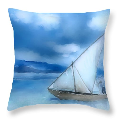 Dhow Throw Pillow featuring the digital art Dhow Fishing Vessel by Arline Wagner