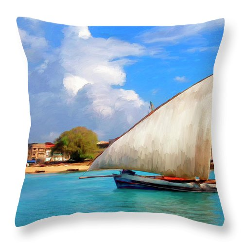 Dhow Off Zanzibar Throw Pillow featuring the painting Dhow Off Zanzibar by Dominic Piperata