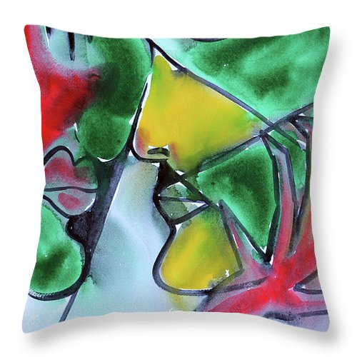 Love Color Red Green Picasso Throw Pillow featuring the painting Dialogos 37 by Jorge Berlato