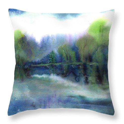 Water Throw Pillow featuring the painting Diamond Bay by Melody Horton Karandjeff