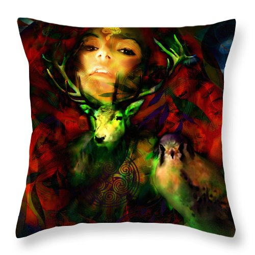 Spiritual Throw Pillow featuring the digital art Dianas Blood Moon by Stephen Lucas