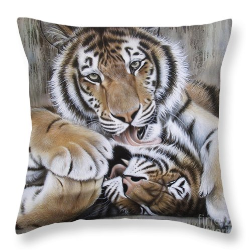 Acrylic Throw Pillow featuring the painting Diana's Duo by Sandi Baker