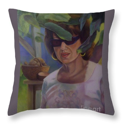 Portrait Throw Pillow featuring the painting Dianne by Marlene Book