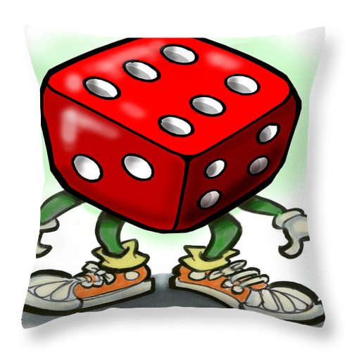 Dice Throw Pillow featuring the greeting card Dice by Kevin Middleton