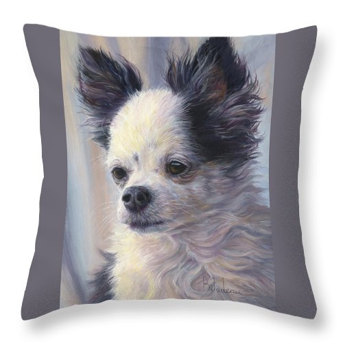 Dog Throw Pillow featuring the painting Dice by Lucie Bilodeau