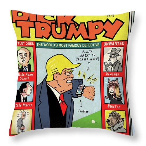 The Misadventures Of Dick Trumpy Throw Pillow featuring the drawing Dick Trumpy by Peter Kuper