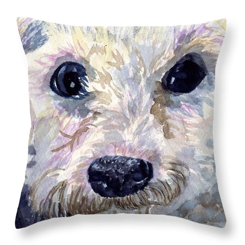 Bichon Frise Throw Pillow featuring the painting Did You Say Lunch by Sharon E Allen
