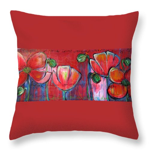 Red Throw Pillow featuring the painting Did You Say Sanctuary by Laurie Maves ART