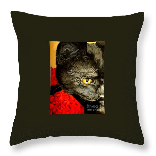 Animal Painting Throw Pillow featuring the painting Diego The Cat by Portraits By NC