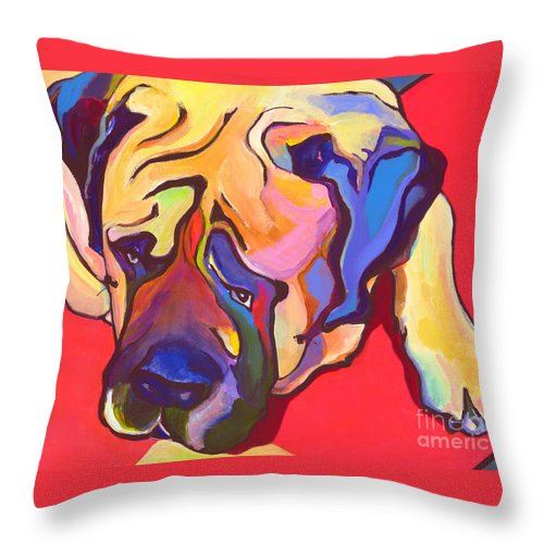 Mastiff Throw Pillow featuring the painting Diesel  by Pat Saunders-White