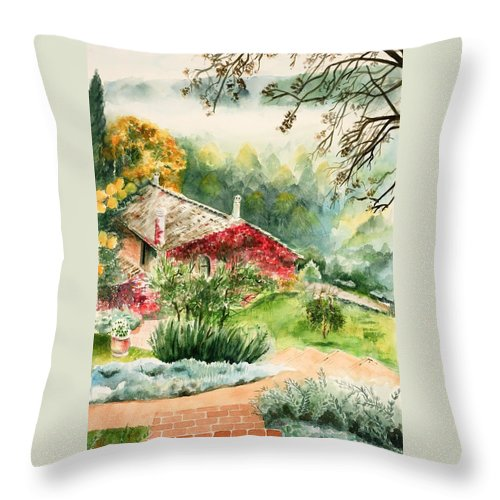 View Of Pathway To Red Cottage And Mountains In Mist Throw Pillow featuring the painting Dievole Vineyard In Tuscany by Judy Swerlick