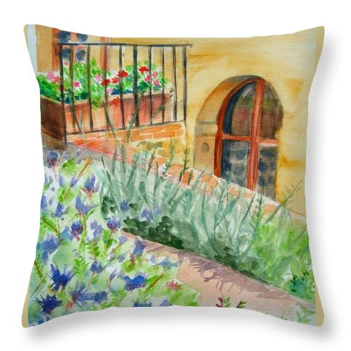 Flowers Surrounding Apartment On Vineyard Throw Pillow featuring the painting Dievole Vineyard by Judy Swerlick