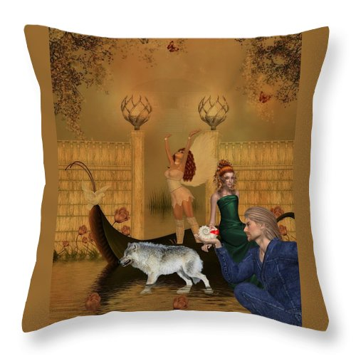 Wolf Throw Pillow featuring the digital art Different Dreams by RiaL Treasures