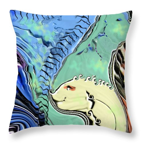 Fantasy Air Throw Pillow featuring the digital art Different Points of View by Stephanie H Johnson