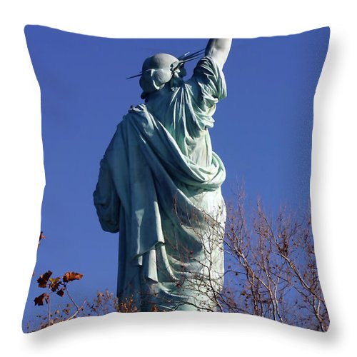 Statue Of Liberty Throw Pillow featuring the photograph Different View by Mary Haber
