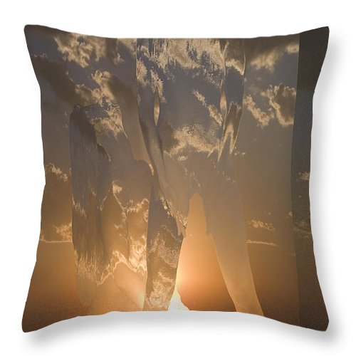 Sky Clouds Woman Girl Lady Abstract Nude Throw Pillow featuring the photograph Diffusion by Andrea Lawrence